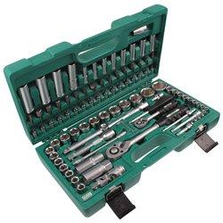 """Zestaw narzędzi """"Honiton"""" 94el. kluczy nasadowych 1/2"""" i 1/4"""" klucze nasadowe grzechotka zielona skrzynka"""
