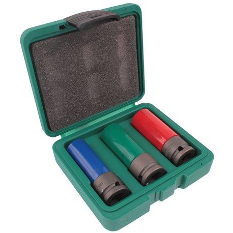 Zestaw nasadek 3el. do odkręcania kół 17 19 21 mm bezpieczne dla felg aluminiowych HONITON