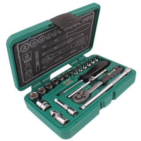 """Zestaw narzędzi HONITON Honidriver 20el. 1/4"""" nasadki grzechotka przedłużki 3.2 - 14mm E4-E18 1/8-9/16cal"""